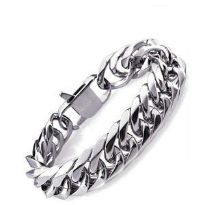 Heavy Mens Bracelet Polished Steel